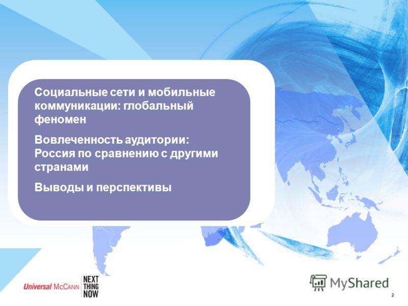 2 Социальные сети и мобильные коммуникации: глобальный феномен Вовлеченность аудитории: Россия по сравнению с другими странами Выводы и перспективы