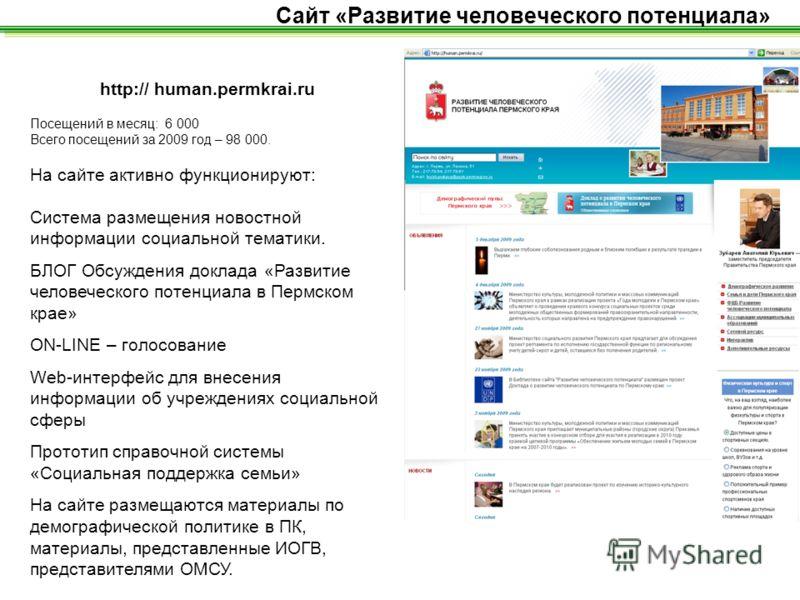 http:// human.permkrai.ru Посещений в месяц: 6 000 Всего посещений за 2009 год – 98 000. На сайте активно функционируют: Система размещения новостной информации социальной тематики. БЛОГ Обсуждения доклада «Развитие человеческого потенциала в Пермско