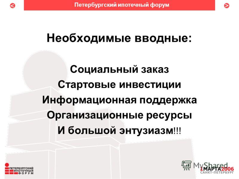 < < Необходимые вводные: Социальный заказ Стартовые инвестиции Информационная поддержка Организационные ресурсы И большой энтузиазм !!! Петербургский ипотечный форум