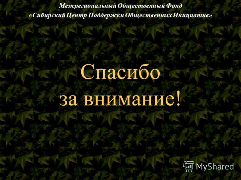 Спасибо за внимание! Межрегиональный Общественный Фонд «Сибирский Центр Поддержки Общественных Инициатив»