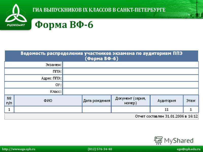 Форма ВФ-6 http://www.ege.spb.ru (812) 576-34-40 ege@spb.edu.ru