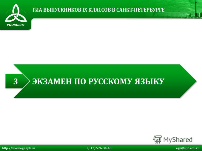 http://www.ege.spb.ru (812) 576-34-40 ege@spb.edu.ru 3 3 ЭКЗАМЕН ПО РУССКОМУ ЯЗЫКУ