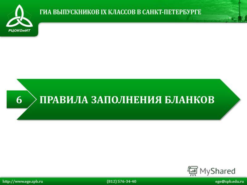 http://www.ege.spb.ru (812) 576-34-40 ege@spb.edu.ru 6 6 ПРАВИЛА ЗАПОЛНЕНИЯ БЛАНКОВ