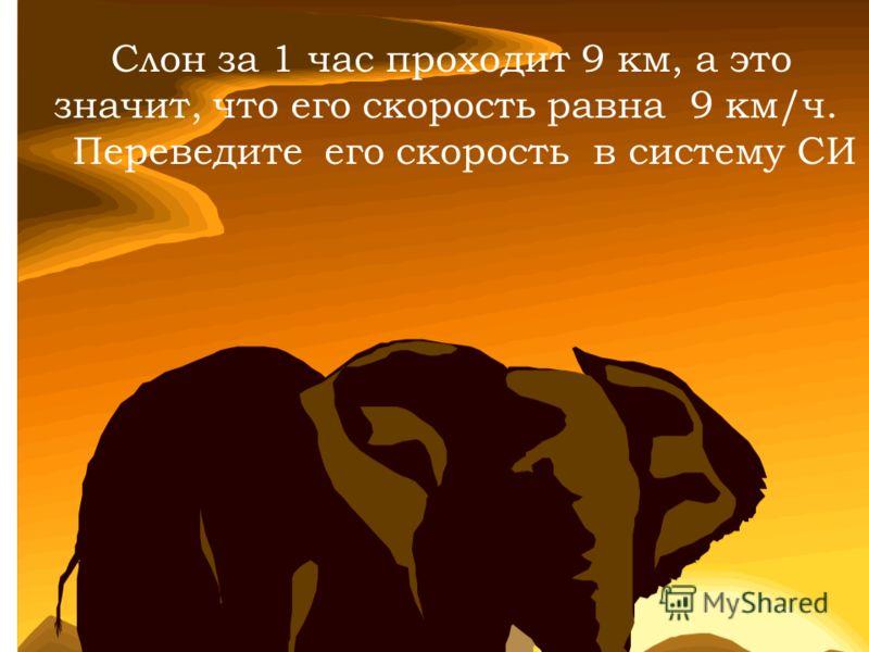Слон за 1 час проходит 9 км, а это значит, что его скорость равна 9 км/ч. Переведите его скорость в систему СИ