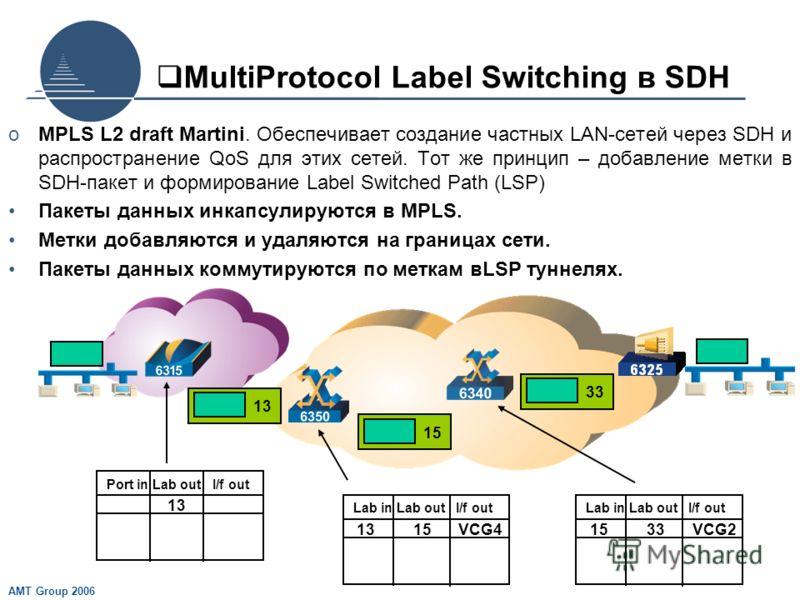 AMT Group 2006 MultiProtocol Label Switching в SDH oMPLS L2 draft Martini. Обеспечивает создание частных LAN-сетей через SDH и распространение QoS для этих сетей. Тот же принцип – добавление метки в SDH-пакет и формирование Label Switched Path (LSP)