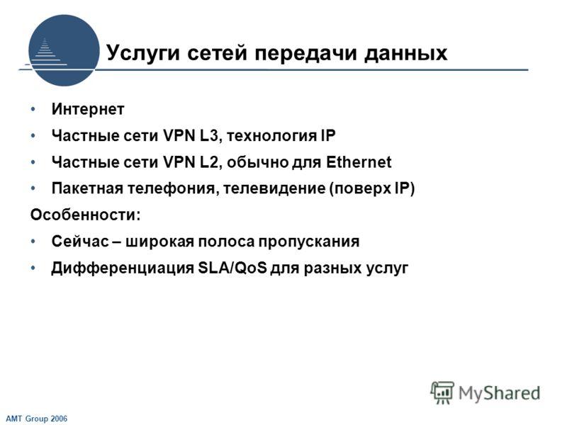 AMT Group 2006 Услуги сетей передачи данных Интернет Частные сети VPN L3, технология IP Частные сети VPN L2, обычно для Ethernet Пакетная телефония, телевидение (поверх IP) Особенности: Сейчас – широкая полоса пропускания Дифференциация SLA/QoS для р