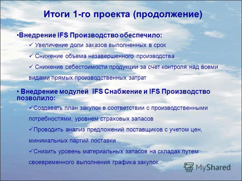 Внедрение IFS Производство обеспечило: Увеличение доли заказов выполненных в срок Снижение объема незавершенного производства Снижение себестоимости продукции за счет контроля над всеми видами прямых производственных затрат Внедрение модулей IFS Снаб
