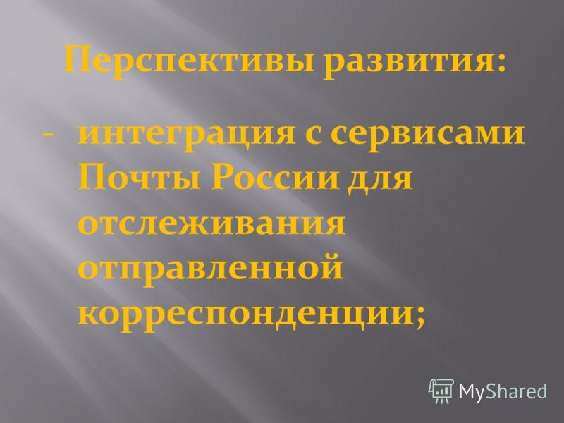 Перспективы развития: интеграция с сервисами Почты России для отслеживания отправленной корреспонденции;