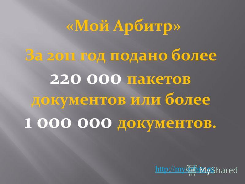 «Мой Арбитр» http://my.arbitr.ru За 2011 год подано более 220 000 пакетов документов или более 1 000 000 документов.