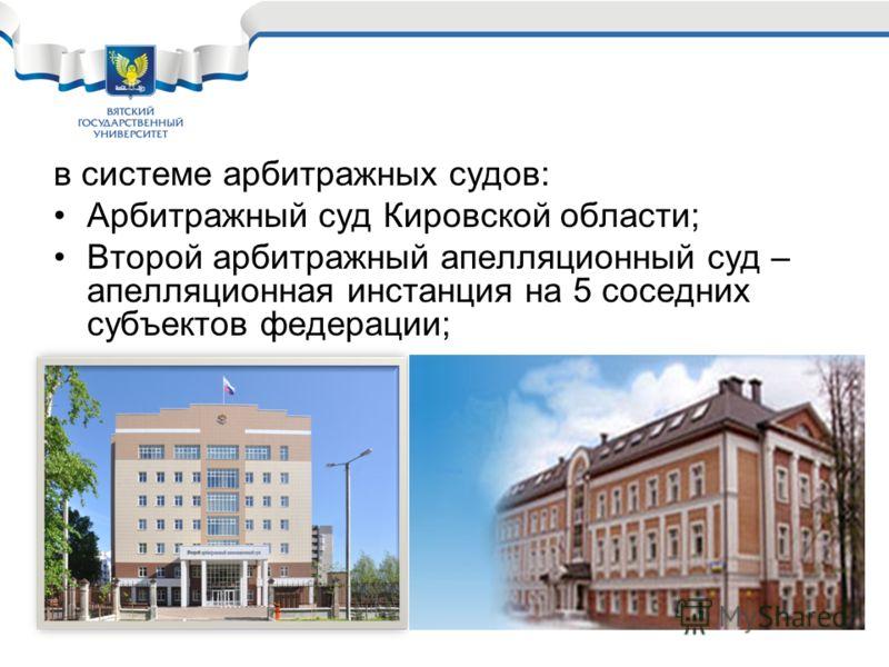 в системе арбитражных судов: Арбитражный суд Кировской области; Второй арбитражный апелляционный суд – апелляционная инстанция на 5 соседних субъектов федерации;