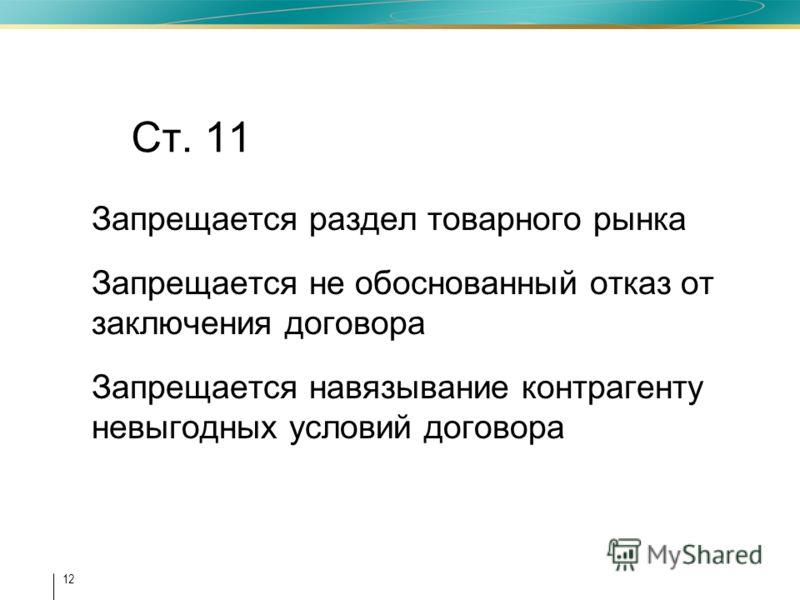 12 Ст. 11 Запрещается раздел товарного рынка Запрещается не обоснованный отказ от заключения договора Запрещается навязывание контрагенту невыгодных условий договора