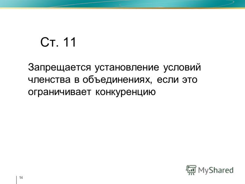 14 Ст. 11 Запрещается установление условий членства в объединениях, если это ограничивает конкуренцию