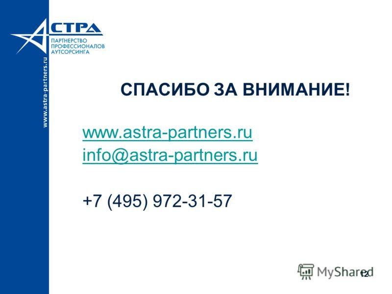 СПАСИБО ЗА ВНИМАНИЕ! www.astra-partners.ru info@astra-partners.ru +7 (495) 972-31-57 12