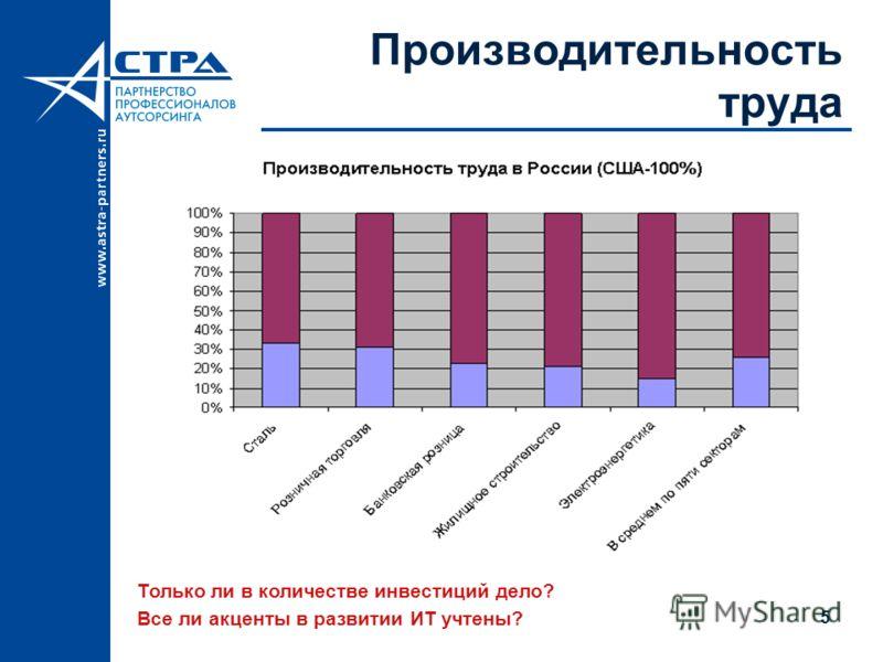 5 Производительность труда Только ли в количестве инвестиций дело? Все ли акценты в развитии ИТ учтены?