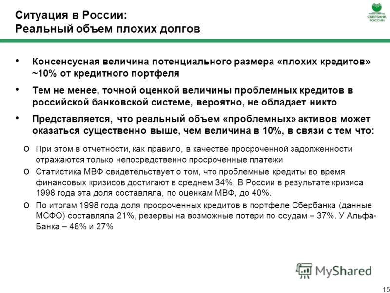 14 Ситуация в России: Изменение резервов под возможные потери Резервы в целом по банковской системе, кроме Сбербанка, выросли на 58 млрд. рублей (+6,7%). Лидером по темпам роста был МДМ банк (42,1%) Уровень кредитного риска (отношение резервов к кред