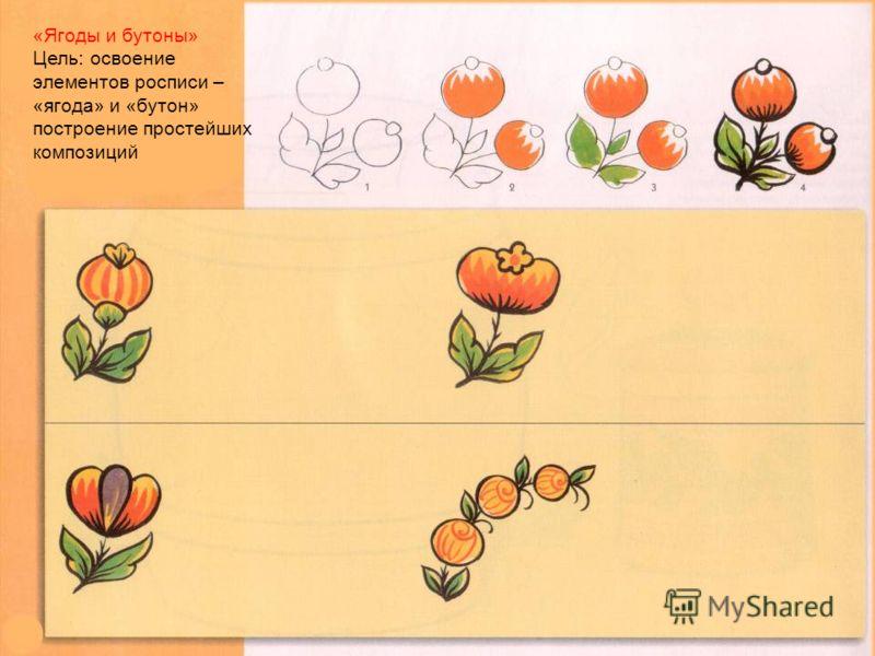 «Ягоды и бутоны» Цель: освоение элементов росписи – «ягода» и «бутон» построение простейших композиций
