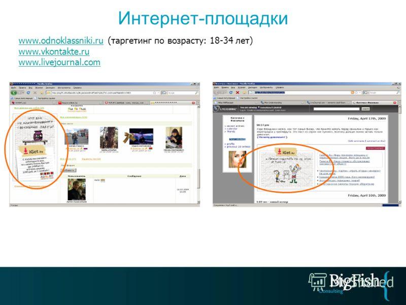 Интернет-площадки www.odnoklassniki.ruwww.odnoklassniki.ru (таргетинг по возрасту: 18-34 лет) www.vkontakte.ru www.livejournal.com
