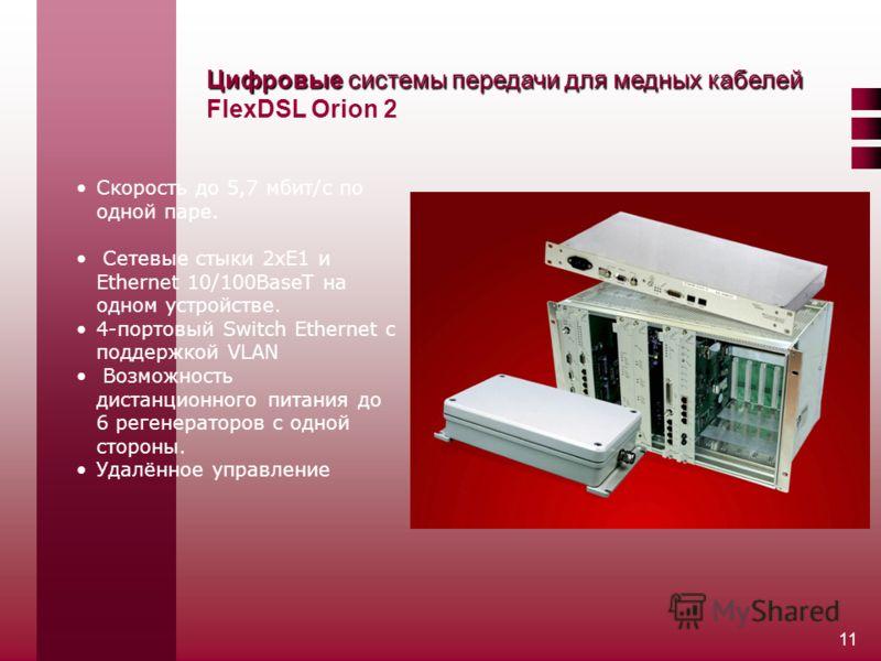 11 Цифровые системы передачи для медных кабелей Цифровые системы передачи для медных кабелей FlexDSL Orion 2 Скорость до 5,7 мбит/с по одной паре. Сетевые стыки 2хЕ1 и Ethernet 10/100BaseT на одном устройстве. 4-портовый Switch Ethernet c поддержкой