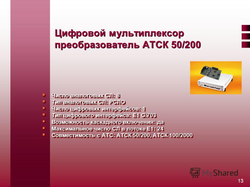 13 Цифровой мультиплексор преобразователь АТСК 50/200 Число аналоговых СЛ: 8 Число аналоговых СЛ: 8 Тип аналоговых СЛ: РСЛО Тип аналоговых СЛ: РСЛО Число цифровых интерфейсов: 1 Число цифровых интерфейсов: 1 Тип цифрового интерфейса: Е1 G.703 Тип циф