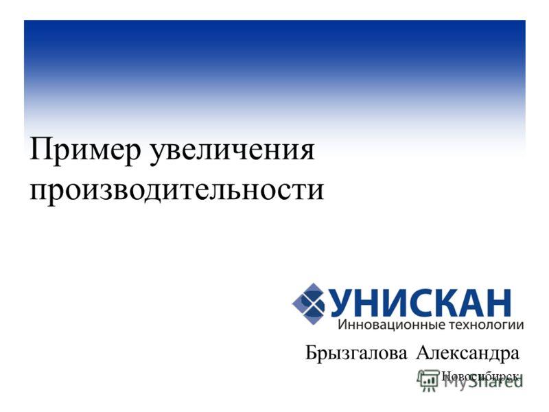 Брызгалова Александра Новосибирск Пример увеличения производительности