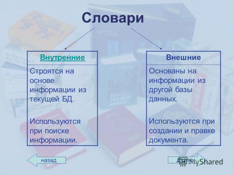 Словари Внутренние Строятся на основе информации из текущей БД. Используются при поиске информации. Внешние Основаны на информации из другой базы данных. Используются при создании и правке документа. назад далее