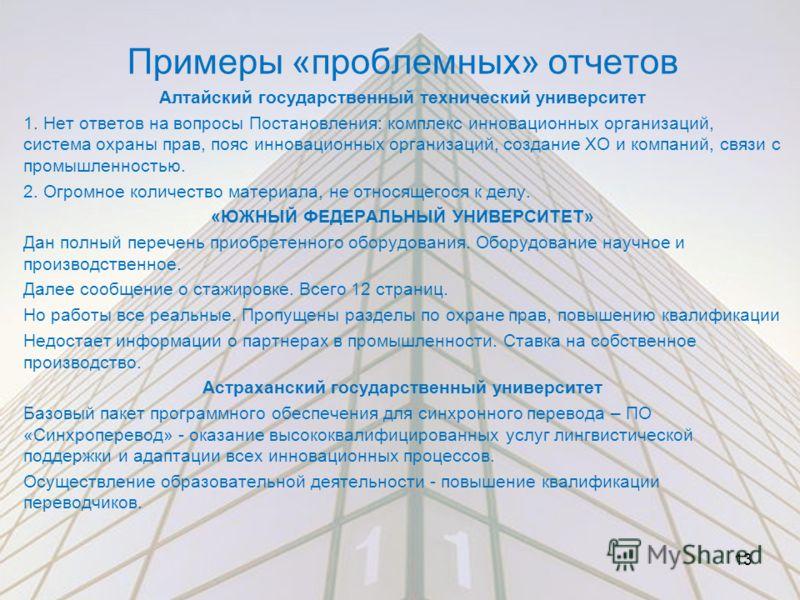 Примеры «проблемных» отчетов Алтайский государственный технический университет 1. Нет ответов на вопросы Постановления: комплекс инновационных организаций, система охраны прав, пояс инновационных организаций, создание ХО и компаний, связи с промышлен