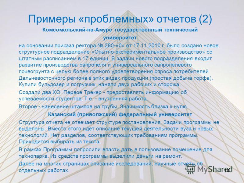 Примеры «проблемных» отчетов (2) Комсомольский-на-Амуре государственный технический университет на основании приказа ректора 280-«0» от 17.11.2010 г. было создано новое структурное подразделение «Опытно-экспериментальное производство» со штатным расп