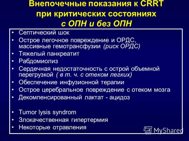 Внепочечные показания к CRRT при критических состояниях с ОПН и без ОПН Септический шок Острое легочное повреждение и ОРДС, массивные гемотрансфузии (риск ОРДС) Тяжелый панкреатит Рабдомиолиз Сердечная недостаточность с острой объемной перегрузкой (