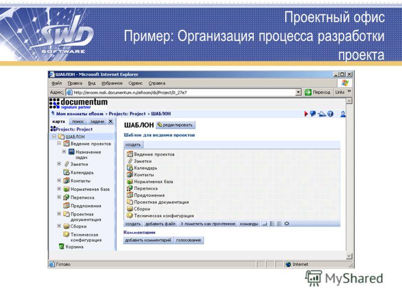 Проектный офис Пример: Организация процесса разработки проекта