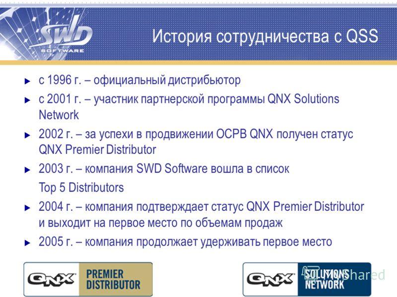 История сотрудничества с QSS с 1996 г. – официальный дистрибьютор с 2001 г. – участник партнерской программы QNX Solutions Network 2002 г. – за успехи в продвижении ОСРВ QNX получен статус QNX Premier Distributor 2003 г. – компания SWD Software вошла