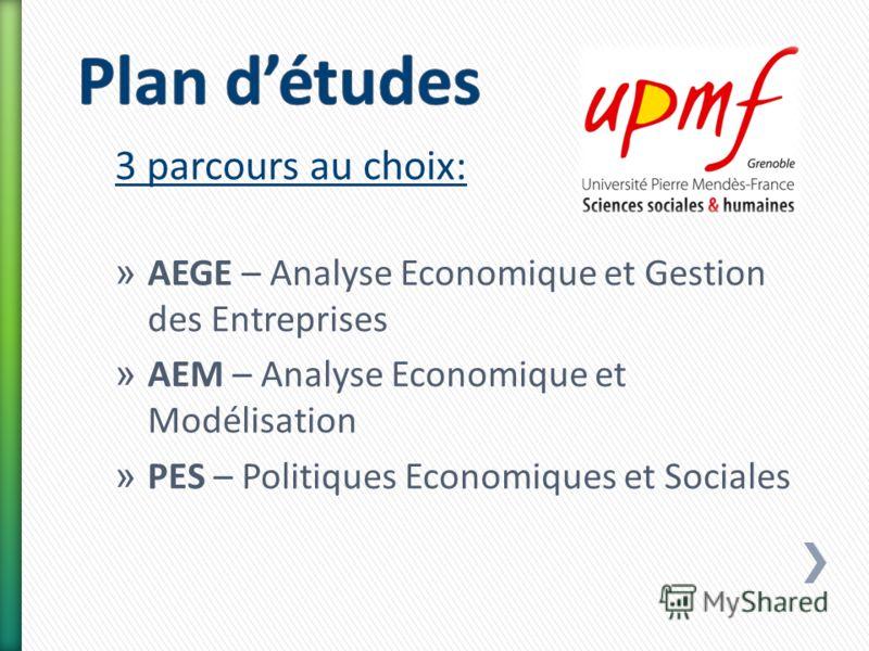 3 parcours au choix: » AEGE – Analyse Economique et Gestion des Entreprises » AEM – Analyse Economique et Modélisation » PES – Politiques Economiques et Sociales