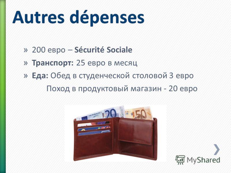 » 200 евро – Sécurité Sociale » Транспорт: 25 евро в месяц » Еда: Обед в студенческой столовой 3 евро Поход в продуктовый магазин - 20 евро