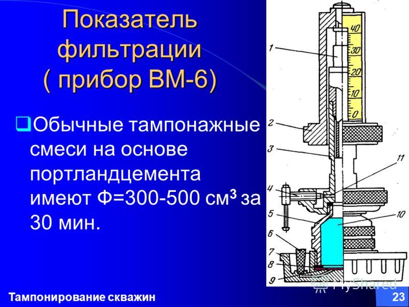 Тампонирование скважин23 Показатель фильтрации ( прибор ВМ-6) Обычные тампонажные смеси на основе портландцемента имеют Ф=300-500 см 3 за 30 мин.