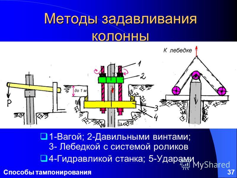 Способы тампонирования37 Методы задавливания колонны 1-Вагой; 2-Давильными винтами; 3- Лебедкой с системой роликов 4-Гидравликой станка; 5-Ударами 1 23