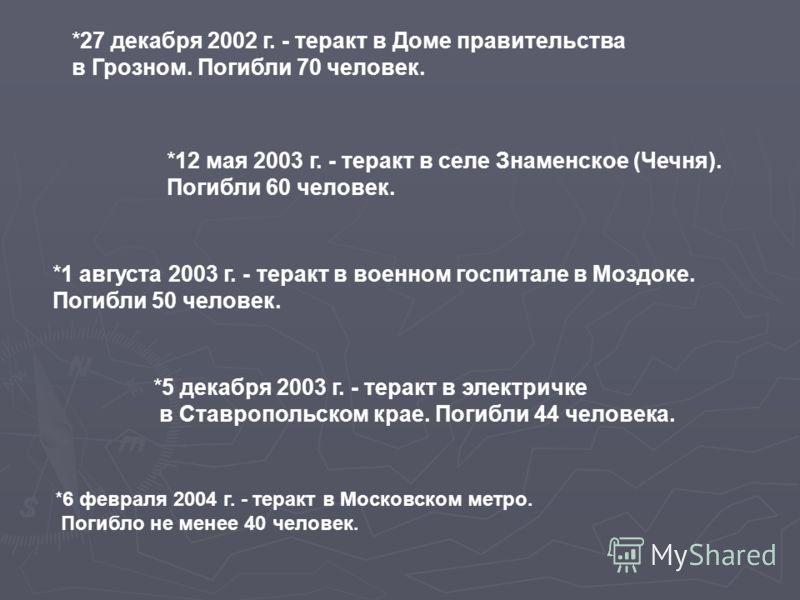 *27 декабря 2002 г. - теракт в Доме правительства в Грозном. Погибли 70 человек. *12 мая 2003 г. - теракт в селе Знаменское (Чечня). Погибли 60 человек. *1 августа 2003 г. - теракт в военном госпитале в Моздоке. Погибли 50 человек. *5 декабря 2003 г.