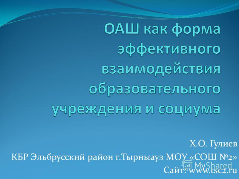 Х.О. Гулиев КБР Эльбрусский район г.Тырныауз МОУ «СОШ 2» Сайт: www.tsc2.ru