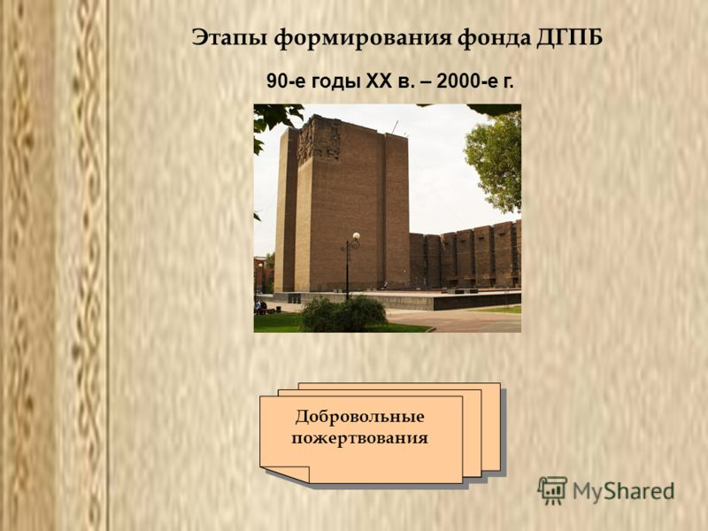 Этапы формирования фонда ДГПБ 90-е годы ХХ в. – 2000-е г. Добровольные пожертвования