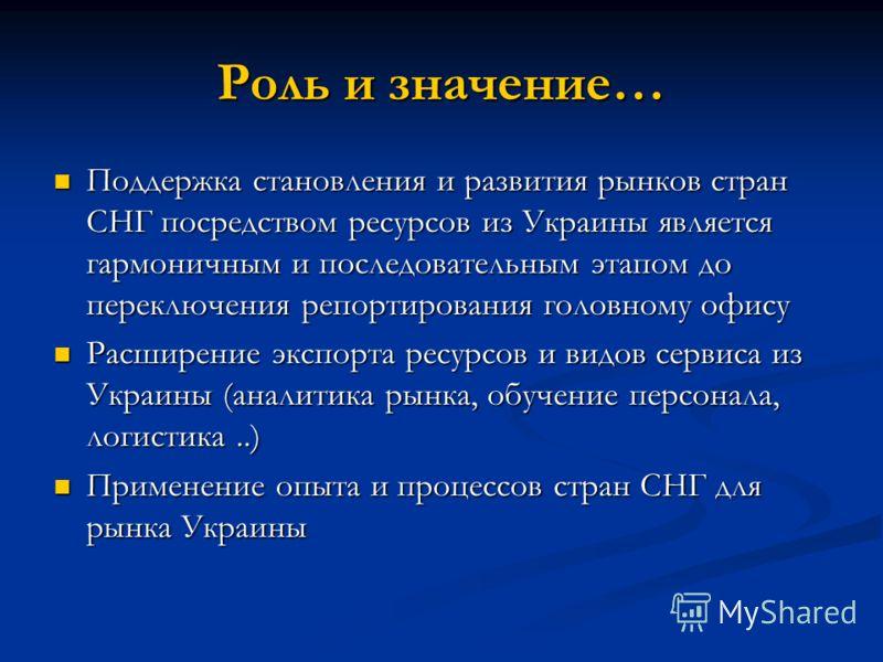 Роль и значение… Поддержка становления и развития рынков стран СНГ посредством ресурсов из Украины является гармоничным и последовательным этапом до переключения репортирования головному офису Поддержка становления и развития рынков стран СНГ посредс