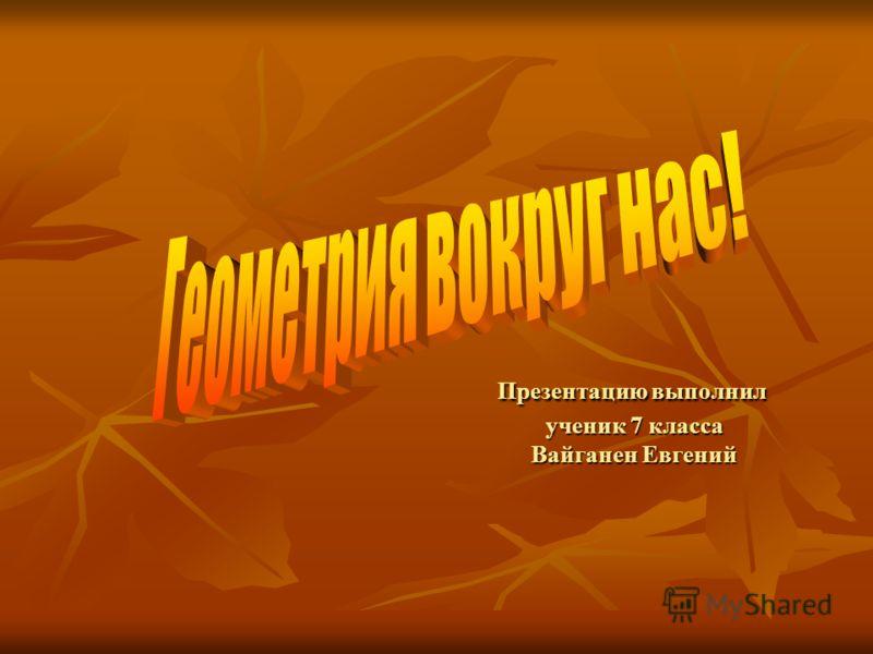 Презентацию выполнил ученик 7 класса Вайганен Евгений