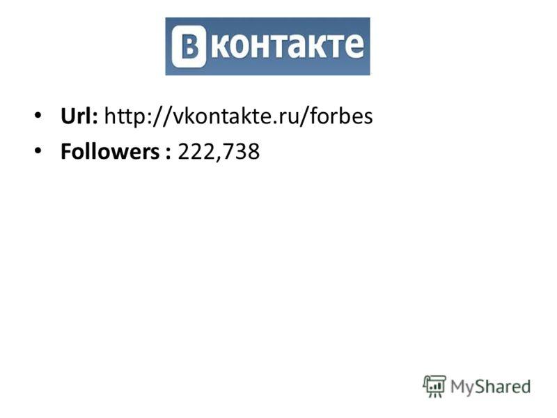 Url: http://vkontakte.ru/forbes Followers : 222,738