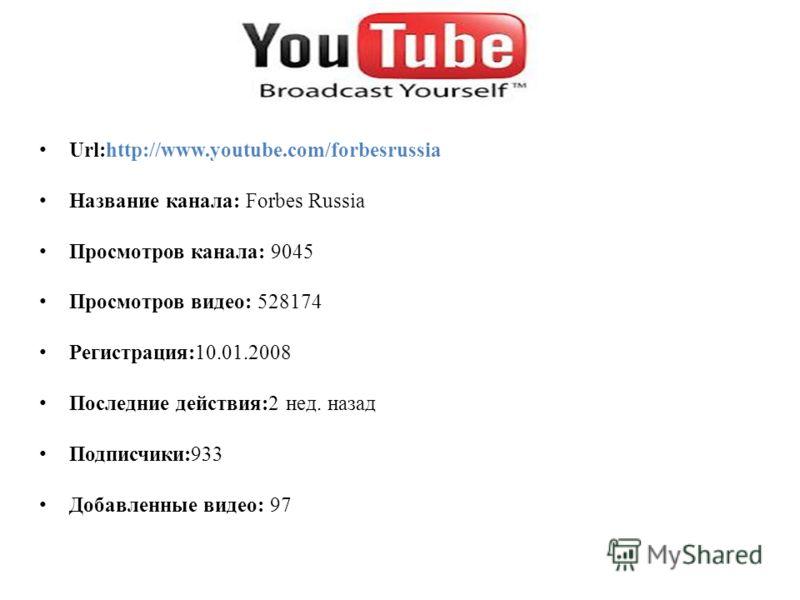 Url:http://www.youtube.com/forbesrussia Название канала: Forbes Russia Просмотров канала: 9045 Просмотров видео: 528174 Регистрация:10.01.2008 Последние действия:2 нед. назад Подписчики:933 Добавленные видео: 97