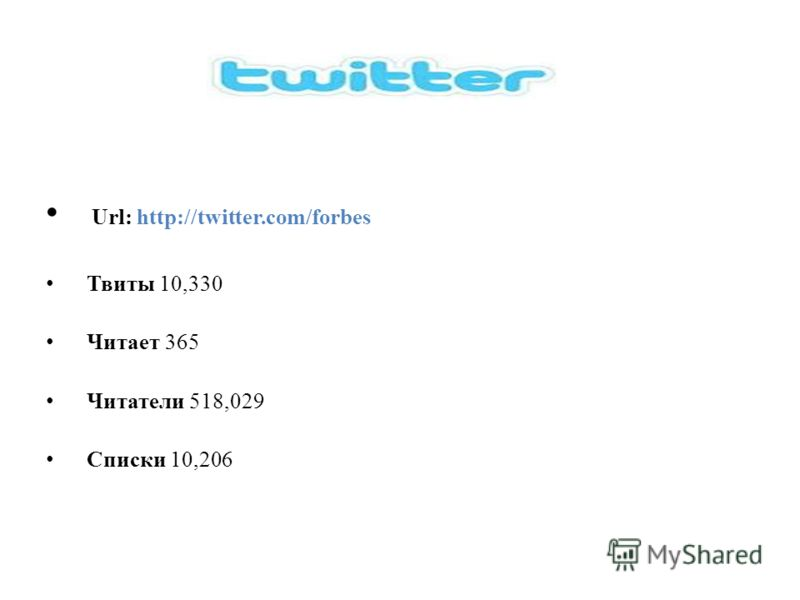 Url: http://twitter.com/forbes Твиты 10,330 Читает 365 Читатели 518,029 Списки 10,206