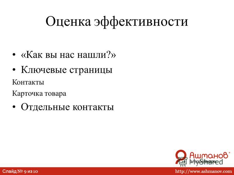 http://www.ashmanov.com Слайд 9 из 10 Оценка эффективности «Как вы нас нашли?» Ключевые страницы Контакты Карточка товара Отдельные контакты