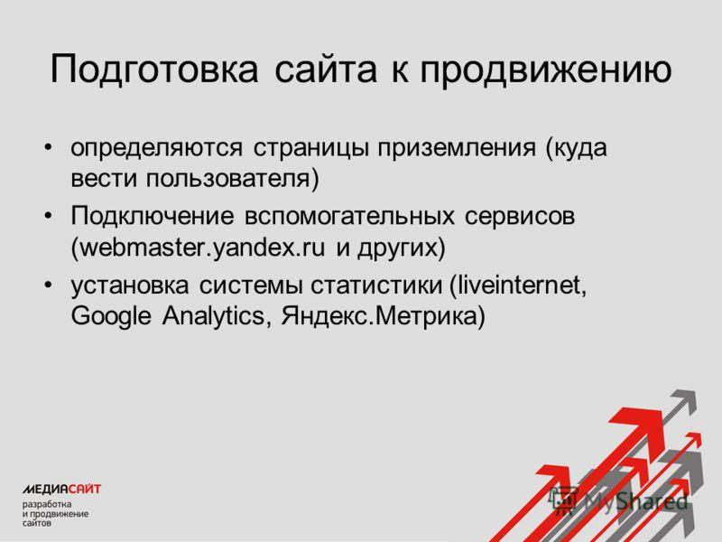 Подготовка сайта к продвижению определяются страницы приземления (куда вести пользователя) Подключение вспомогательных сервисов (webmaster.yandex.ru и других) установка системы статистики (liveinternet, Google Analytics, Яндекс.Метрика)