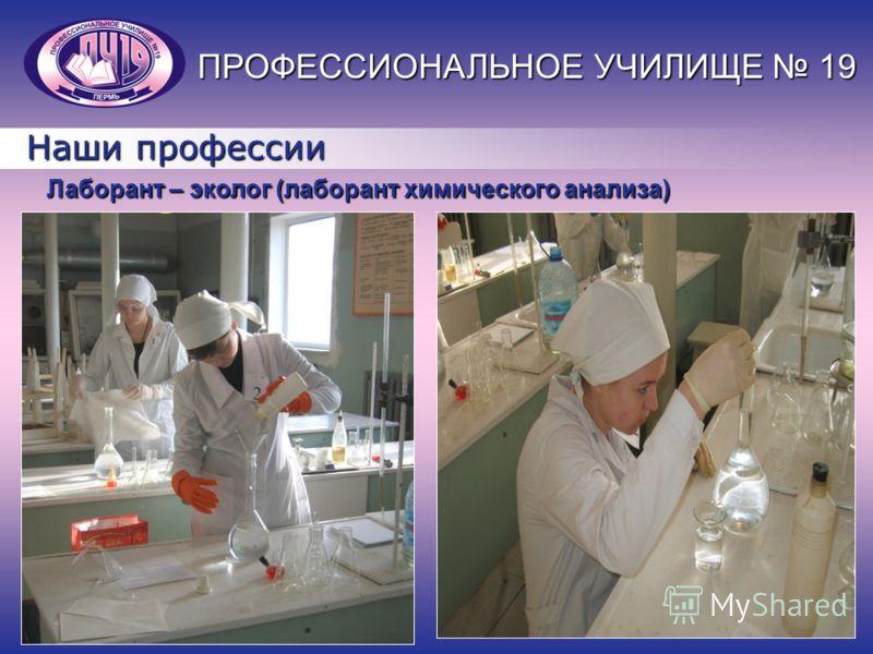 Наши профессии Лаборант – эколог (лаборант химического анализа) ПРОФЕССИОНАЛЬНОЕ УЧИЛИЩЕ 19