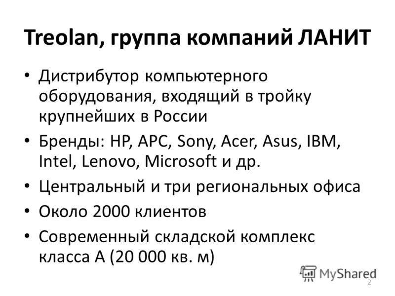 Treolan, группа компаний ЛАНИТ Дистрибутор компьютерного оборудования, входящий в тройку крупнейших в России Бренды: НР, АРС, Sony, Acer, Asus, IBM, Intel, Lenovo, Microsoft и др. Центральный и три региональных офиса Около 2000 клиентов Современный с