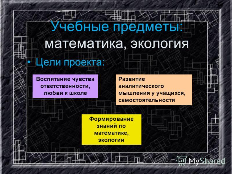 Учебные предметы: математика, экология Цели проекта: Формирование знаний по математике, экологии Развитие аналитического мышления у учащихся, самостоятельности Воспитание чувства ответственности, любви к школе