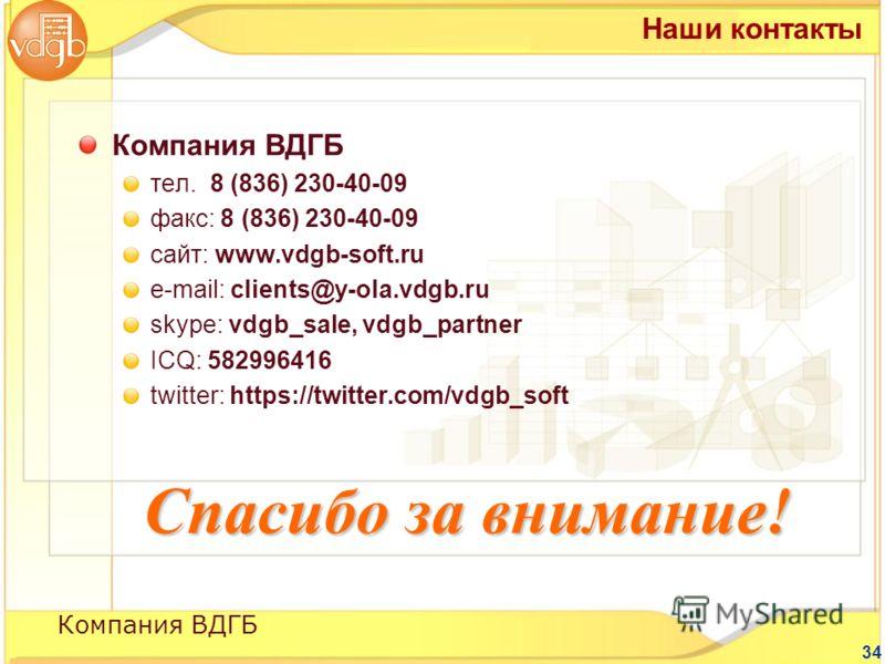34 Компания ВДГБ тел. 8 (836) 230-40-09 факс: 8 (836) 230-40-09 сайт: www.vdgb-soft.ru е-mail: clients@y-ola.vdgb.ru skype: vdgb_sale, vdgb_partner ICQ: 582996416 twitter: https://twitter.com/vdgb_soft Наши контакты Компания ВДГБ Спасибо за внимание!