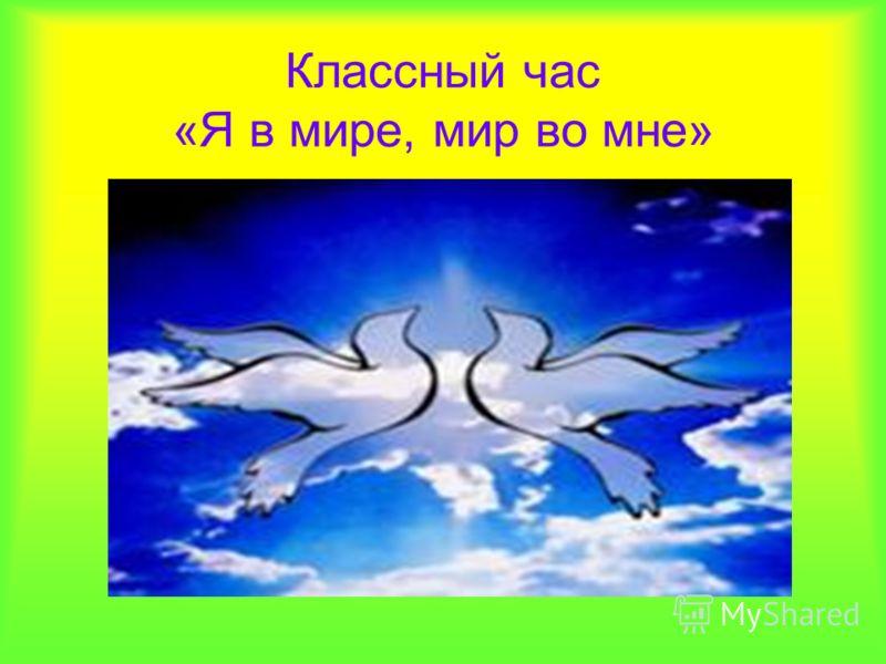 Классный час «Я в мире, мир во мне»
