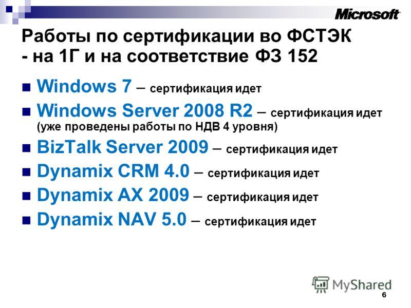 6 Работы по сертификации во ФСТЭК - на 1Г и на соответствие ФЗ 152 Windows 7 – сертификация идет Windows Server 2008 R2 – сертификация идет (уже проведены работы по НДВ 4 уровня) BizTalk Server 2009 – сертификация идет Dynamix CRM 4.0 – сертификация